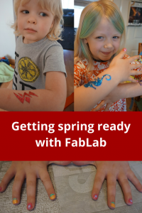 Getting Spring ready with FabLab #hair #nails #tattoo #kidscrafts #haircolour #haircolor #nailart #glittertattoo #glitter #springbreakideas