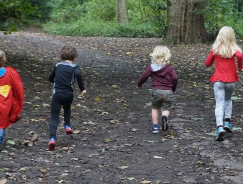 balancing outdoor play and screen time running in the woods