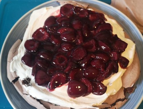 Cherry Chocolate pavlova recipe